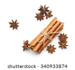 cinnamon and star anise on... | Shutterstock . vector #340933874