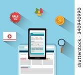 digital marketing and online...   Shutterstock .eps vector #340940990