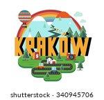 krakow in poland is beautiful...   Shutterstock .eps vector #340945706