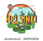 helsinki in finland is... | Shutterstock .eps vector #340945838