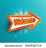 shining retro light arrow.... | Shutterstock .eps vector #340946714