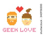 pixel art style geek couple in... | Shutterstock .eps vector #340958300