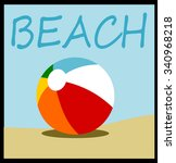 beach ball design with sand and ... | Shutterstock .eps vector #340968218