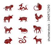 chinese zodiac signs design.... | Shutterstock .eps vector #340971290