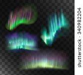 northern lights vector set.... | Shutterstock .eps vector #340982204