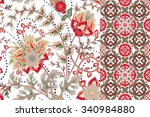 seamless floral patterns set.... | Shutterstock .eps vector #340984880