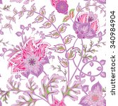 seamless pattern with flower.... | Shutterstock .eps vector #340984904