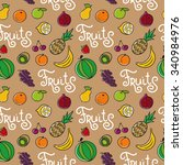 cartoon seamless pattern with... | Shutterstock . vector #340984976