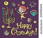 cartoon hanuka greeting card.... | Shutterstock . vector #340985696