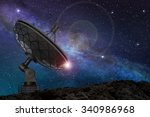 satellite dish under a starry... | Shutterstock . vector #340986968