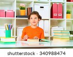 cute smart girl sitting at the... | Shutterstock . vector #340988474