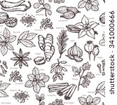herbs and spice sketch seamless ... | Shutterstock .eps vector #341000666
