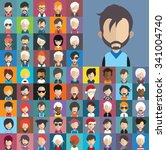 set of people icons in flat... | Shutterstock .eps vector #341004740