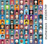 set of people icons in flat... | Shutterstock .eps vector #341004749
