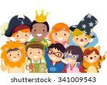 stickman illustration of kids... | Shutterstock .eps vector #341009543