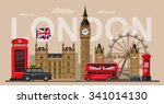 vector color great britain and... | Shutterstock .eps vector #341014130
