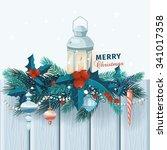 christmas card  with fir... | Shutterstock .eps vector #341017358