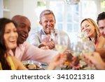 mature friends sitting around... | Shutterstock . vector #341021318