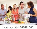 group of mature friends... | Shutterstock . vector #341021348
