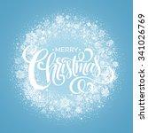blue christmas snowflake wreath....   Shutterstock .eps vector #341026769