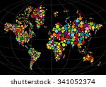 multi colored mosaic world map...