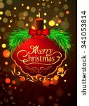 beautiful label with christmas... | Shutterstock .eps vector #341053814