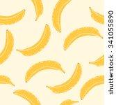 seamless banana pattern .... | Shutterstock .eps vector #341055890