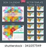 design desk calendar 2016.... | Shutterstock .eps vector #341057549