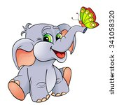 funny cartoon baby elephant... | Shutterstock .eps vector #341058320
