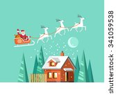santa claus on sleigh and his... | Shutterstock .eps vector #341059538
