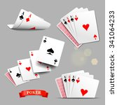 vector set of four aces playing ... | Shutterstock .eps vector #341064233