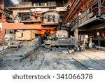 metal smelting furnace in steel ... | Shutterstock . vector #341066378