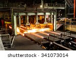 hot steel on conveyor in steel... | Shutterstock . vector #341073014