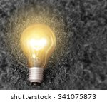simple light bulbs on brown... | Shutterstock . vector #341075873