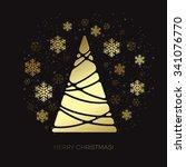 vector gold christmas tree. ... | Shutterstock .eps vector #341076770