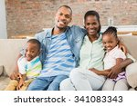 happy family relaxing on the...   Shutterstock . vector #341083343