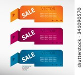 sign of sales on origami paper... | Shutterstock .eps vector #341090570