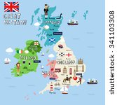 great britain picture map ... | Shutterstock .eps vector #341103308