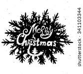 "typography poster ""merry... | Shutterstock .eps vector #341103344"