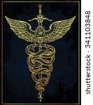 caduceus symbol of god mercury. ... | Shutterstock .eps vector #341103848