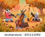musician animals in the wood.... | Shutterstock .eps vector #341111090