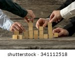 hands of five businessman... | Shutterstock . vector #341112518
