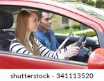 woman having driving lesson... | Shutterstock . vector #341113520