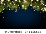 christmas blue background with... | Shutterstock .eps vector #341116688