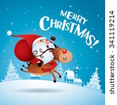 merry christmas  santa claus... | Shutterstock .eps vector #341119214