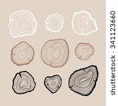 outline tree rings set | Shutterstock .eps vector #341123660