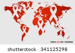 world map picture with sign of... | Shutterstock .eps vector #341125298