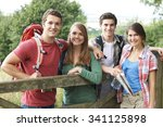 group of young people hiking in ... | Shutterstock . vector #341125898