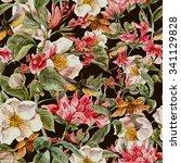 watercolor vintage seamless... | Shutterstock . vector #341129828