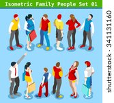 flat style family set. young... | Shutterstock . vector #341131160
